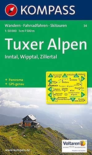 Tuxer Alpen, Inntal, Wipptal, Zillertal: Wanderkarte mit Radrouten, Skitouren und Panorama. GPS-genau. 1:50000