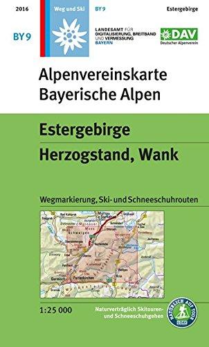 Estergebirge, Herzogstand, Wank: Topographische Karte 1:25.000, mit Wegmarkierungen, Skirouten, Schneeschuhrouten: Wegmarkierung, Ski- und Schneeschuhrouten (Alpenvereinskarten)