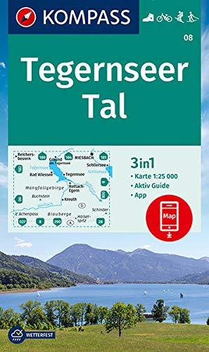 KOMPASS Wanderkarte Tegernseer Tal: 3in1 Wanderkarte 1:25000 mit Aktiv Guide inklusive Karte zur offline Verwendung in der KOMPASS-App. Fahrradfahren. ... Langlaufen. (KOMPASS-Wanderkarten, Band 8)