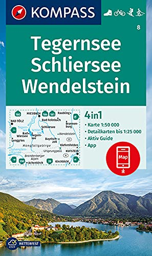 KOMPASS Wanderkarte Tegernsee, Schliersee, Wendelstein: 4in1 Wanderkarte 1:50000 mit Aktiv Guide und Detailkarten inklusive Karte zur offline ... Langlaufen. (KOMPASS-Wanderkarten, Band 8)