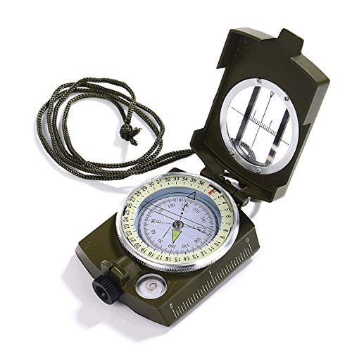 iitrust Kompass Wasserfest und Stoßfest, Militär Marschkompass Professioneller, Taschenkompass Peilkompass, kompass Outdoor mit zum Wandern Camping, Erkundung, Geologie, Aktivitäten im Freien