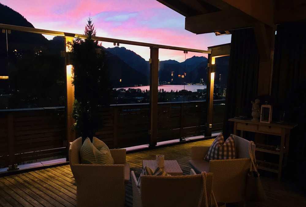Das ist Abendstimmung auf der Seeterrasse - mit Blick auf den Achensee