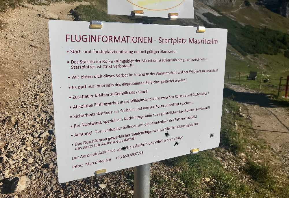 Hier die Fluginformationen für den Startplatz zum Gleitschirmfliegen am Achensee