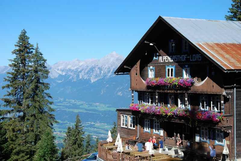 Der Alpengasthof Loas ist eine beliebte Hütte in Schwaz, Tuxer Alpen