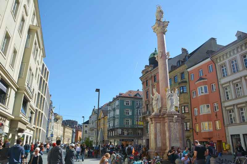 Die schöne Annasäule ist eine der beliebtesten Innsbruck Sehenswürdigkeiten in der Altstadt