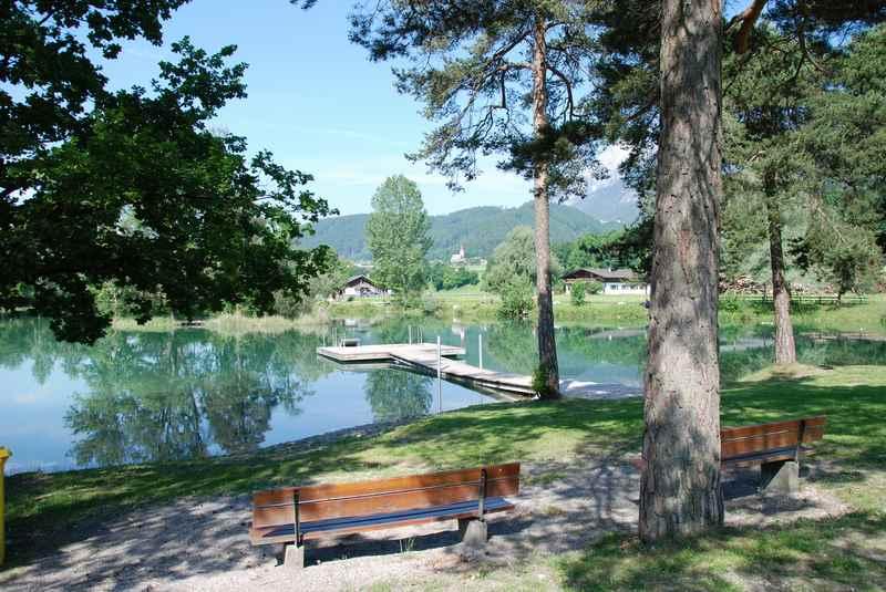 Der Badesee Weisslahn Terfens, beliebtes Strandbad in Tirol