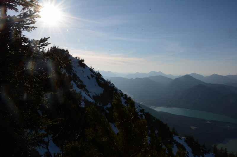 Meine Aussicht auf der Sylvensteinspeicher Wanderung am Dürrenberg in Bayern