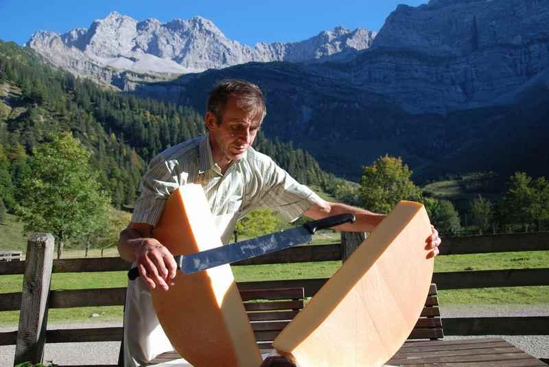 Der feine Bergkäse der Engalm: Der große Käselaib des Almkäse wird geteilt