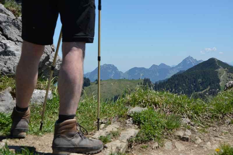 Die Bodenschneid Wanderung am Tegernsee, hinten im Bild der Wendelstein