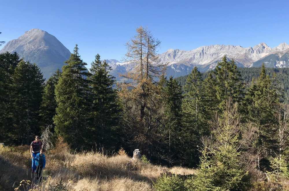 Wandern mit Kindern in Seefeld: Die Aussicht vom Brunschkopf auf das Wettersteingebirge