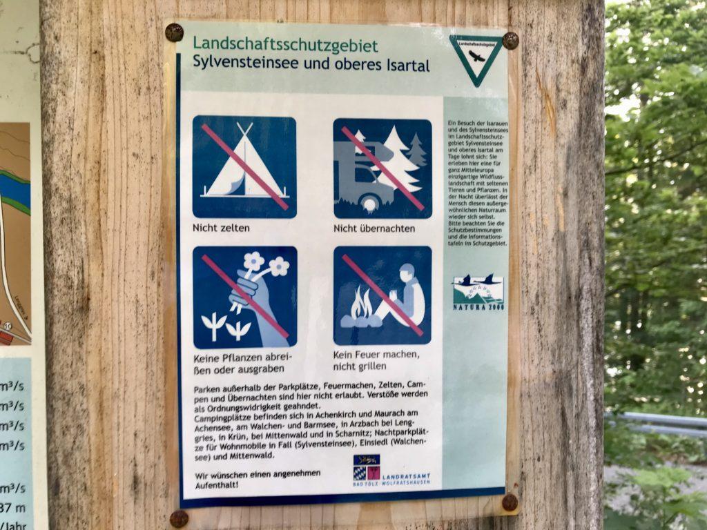 Camping Karwendel - in der Landschaft ist es verboten