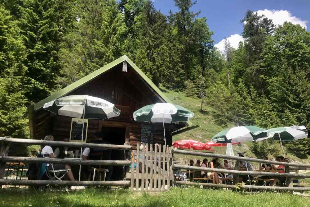 Das ist die alte, urige Finzalm - umgeben von Sonnenschirmen und Bierbänken