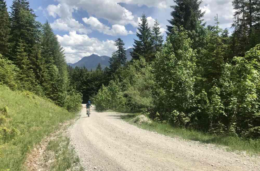 Das ist der Weg zum Mountainbiken auf die Finzalm - hinten das Karwendelgebirge