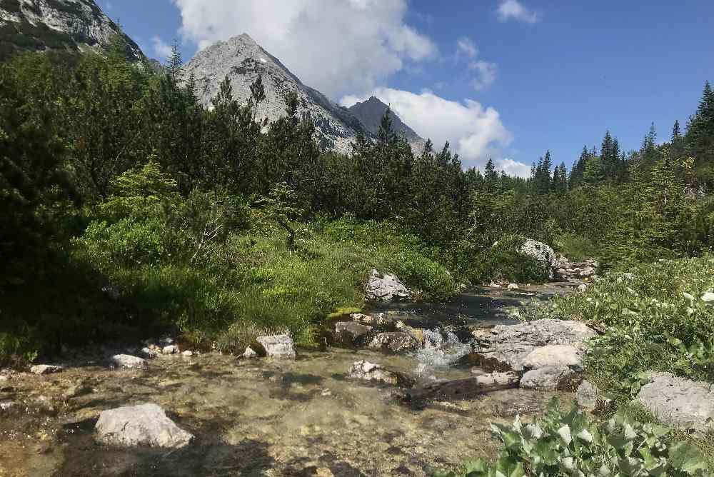 Das Landschaftsbild änder sich im oberen Gaistal - der Bach wird kleiner, die Berge höher