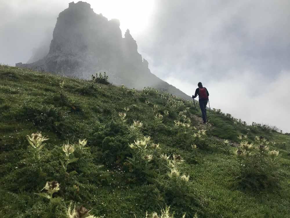Je näher wir zur Gehrenspitze wandern, desto dichter der Nebel