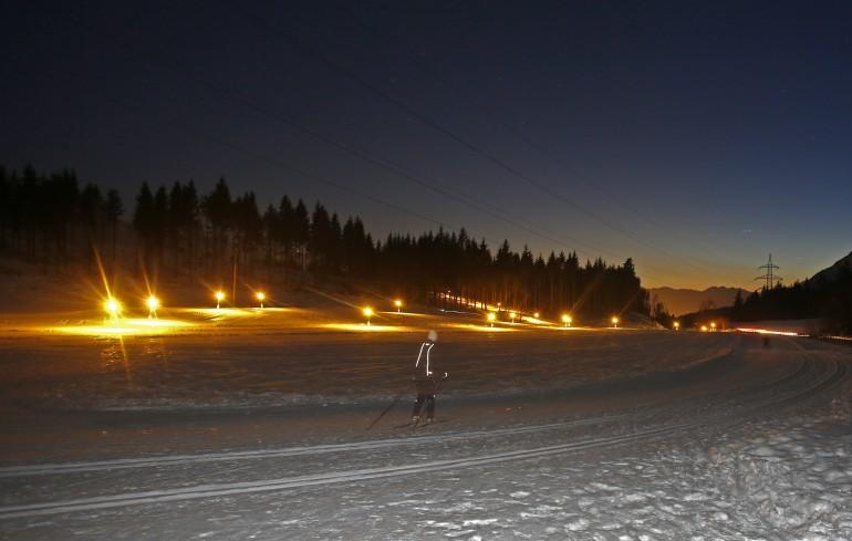 Die Loipe in Gnadenwald - nachts langlaufen bei der Bogneraste nahe Innsbruck, Fotos: Hall-Wattens.at