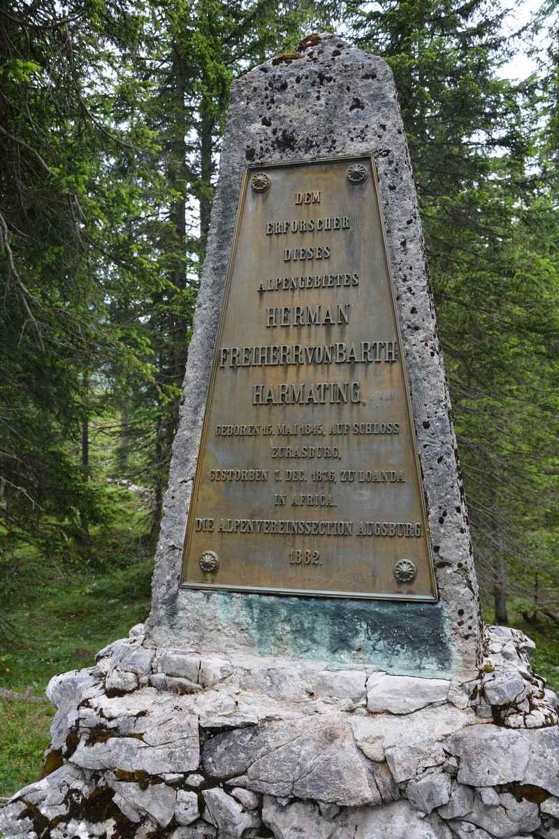 Hermann von Barth Denkmal am kleinen Ahornboden