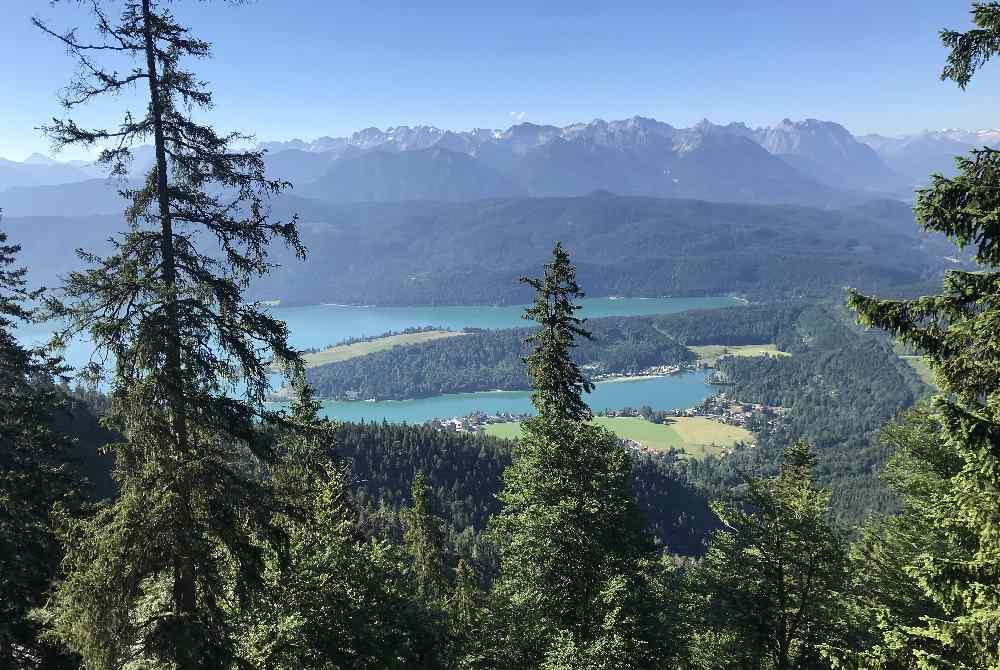 Das Ziel der Wanderung: Dieser Blick vom Herzogstand auf Walchensee und Karwendel