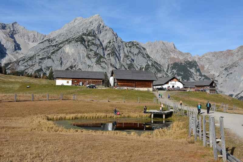 Und dann von der Hinterhornalm zur Walderalm wandern, ein Spaziergang im Karwendel
