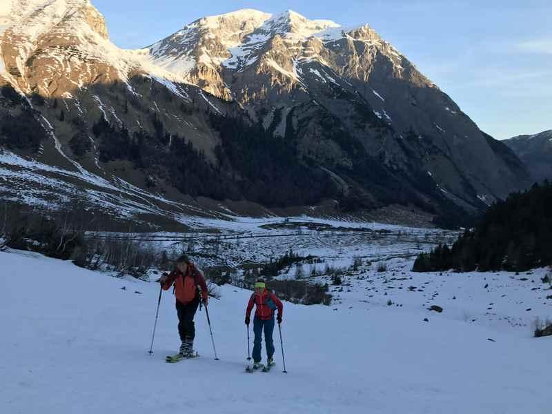 Der Blick zurück in die Eng bei unserer Hochglück Skitour im Karwendel