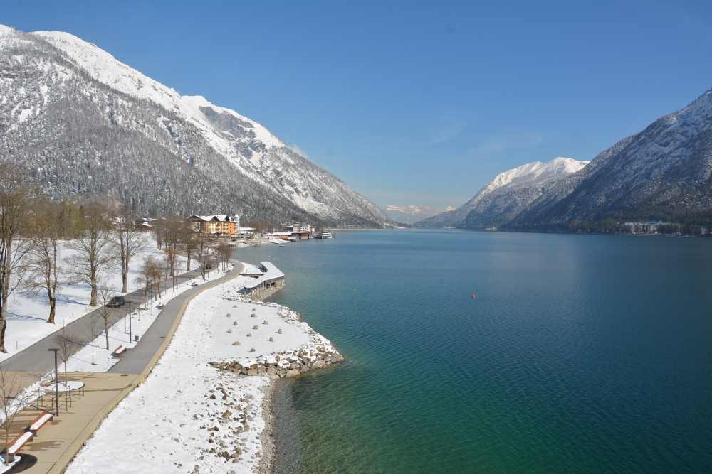 Das war eine schöne Winterwanderung: Vom Hotel in Pertisau mit Blick auf das Karwendel