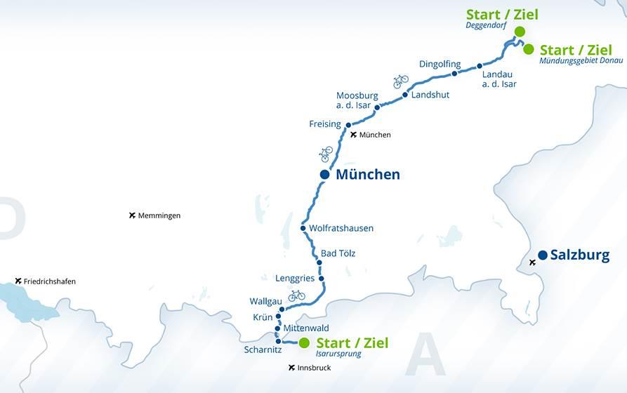 Die Isar Karte - hier siehst du den Verlauf der Isar, samt Isarradweg