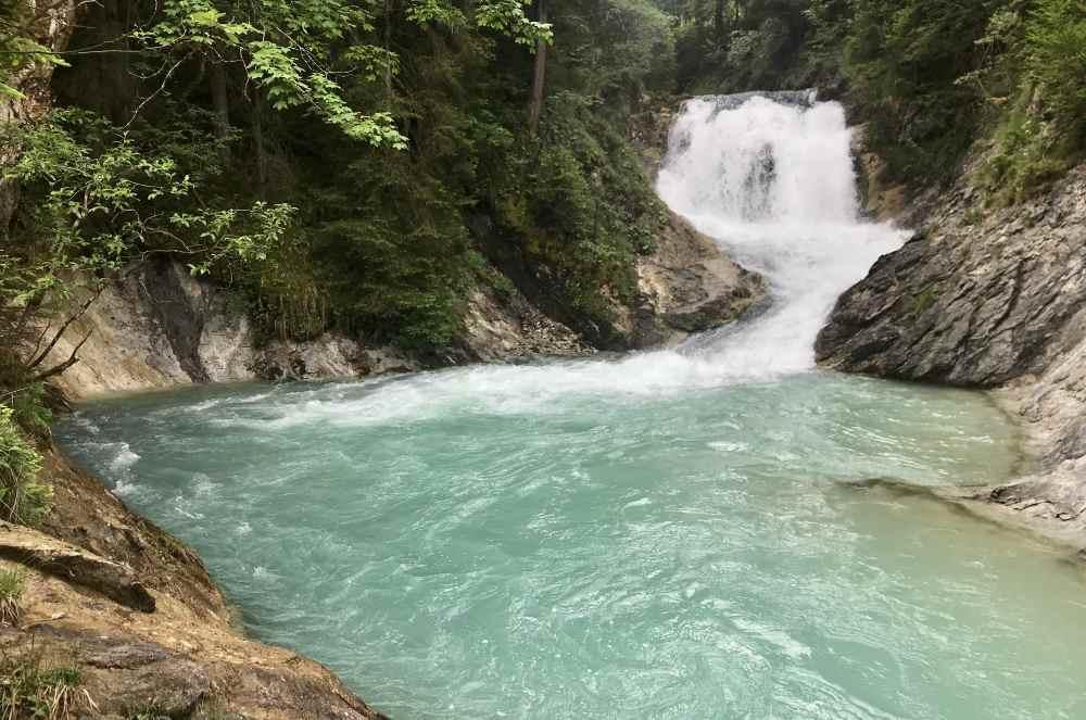 Der Isarfall - ein schöner Wasserfall der Isar, unterhalb vom Sachensee in Wallgau
