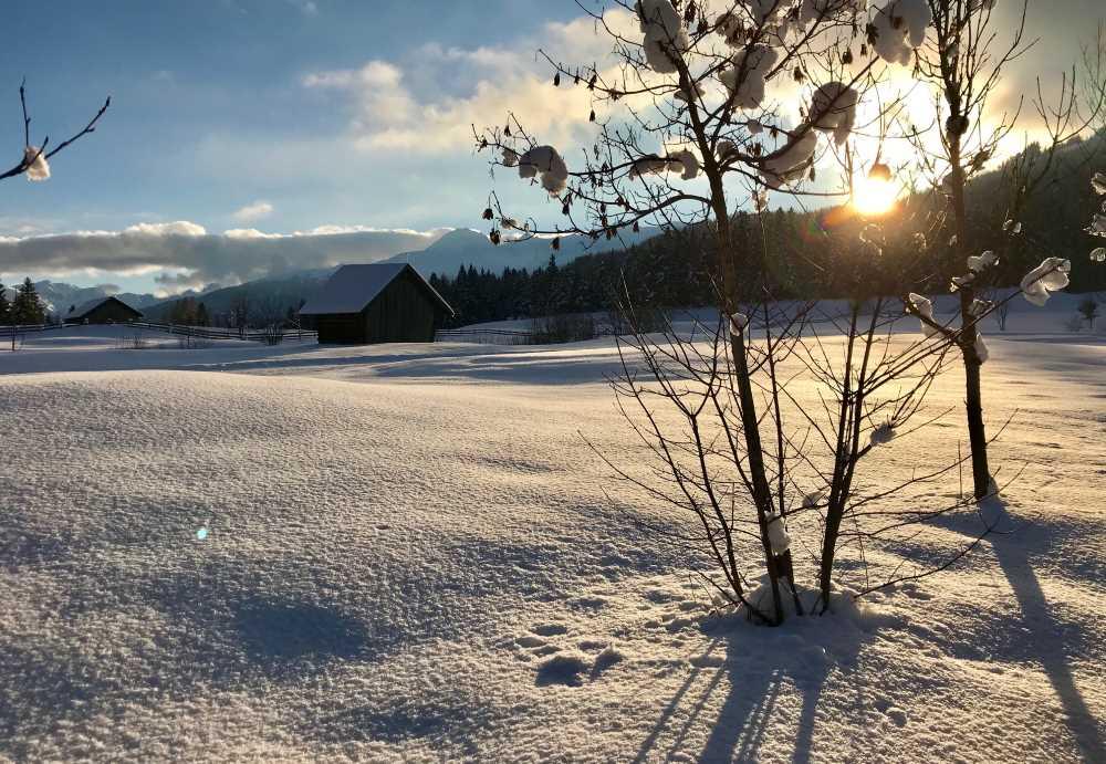 So stimmungsvoll ist die Schneelandschaft im Januar Urlaub in Seefeld beim Karwendel