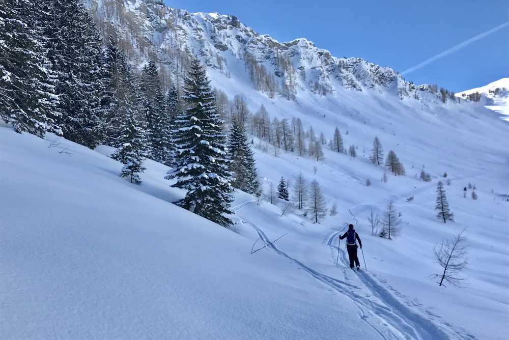 Oberhalb von der Falkenmoosalm geht die Skitour in das freie Almgelände im Karwendel