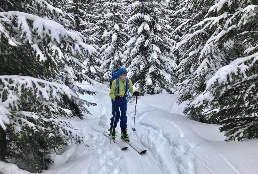 Die steile Piste umgehen wir auf dem schön verschneiten Weg durch den Wald