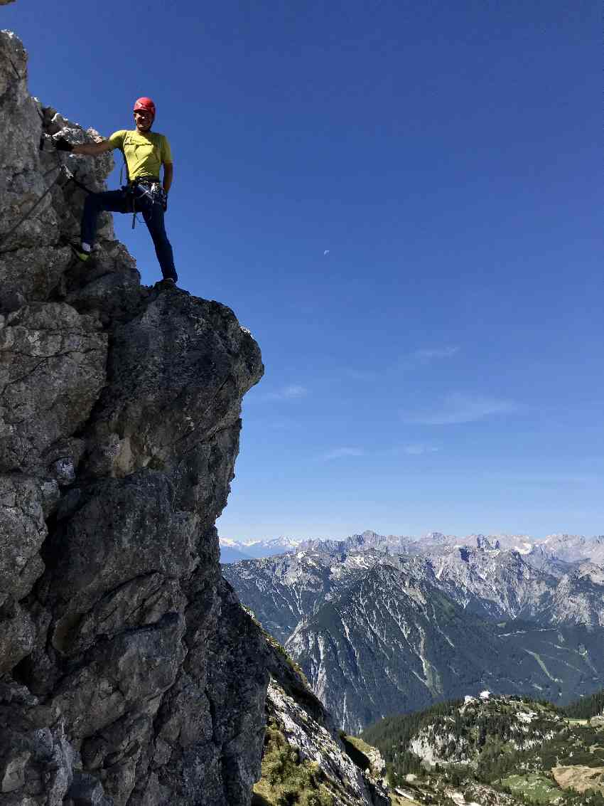 Haidachstellwand Klettersteig: Diese Kulissse erwartet dich auf dem relativ einfachen Klettersteig im Rofan