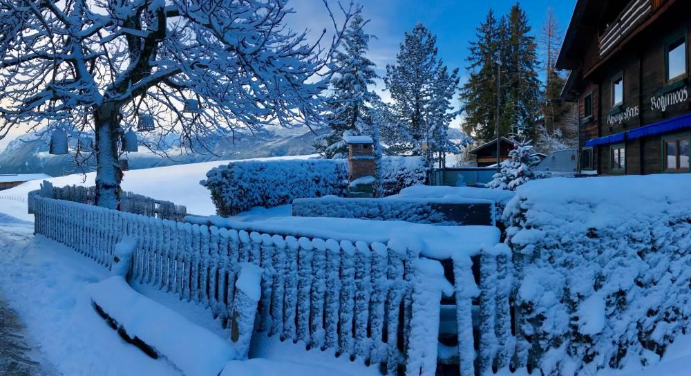 Winterwonderland in Gallzein: Die Koglmoosalm ist im Winter bewirtschaftet, hier beginnt die Rodelbahn