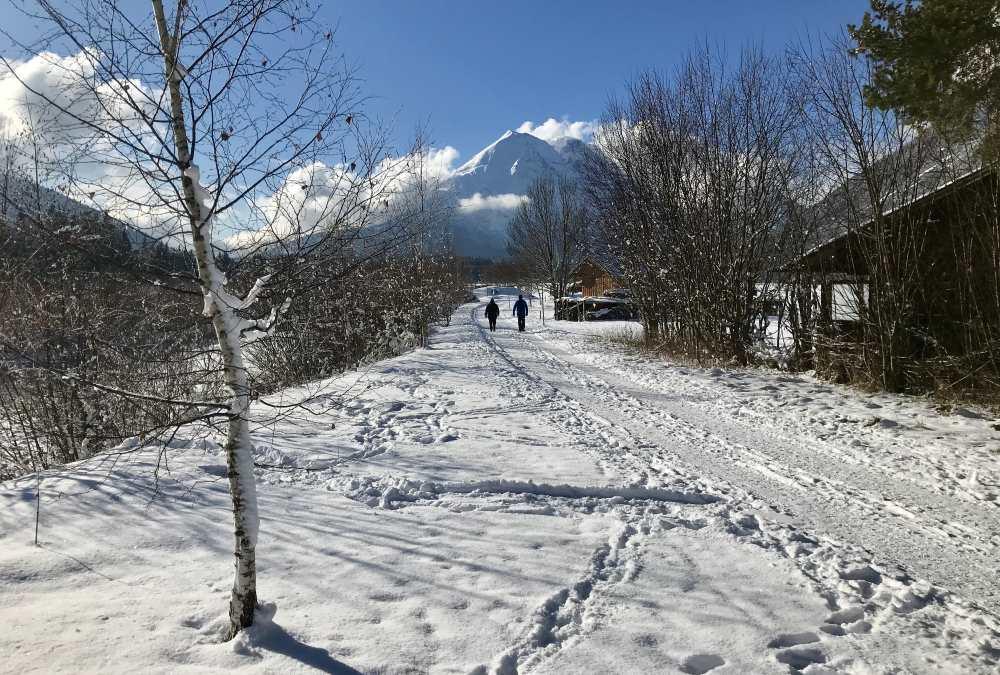 Vom Parkplatz in Leutasch führt die Winterwanderung in der Sonne an der Leutascher Ache entlang