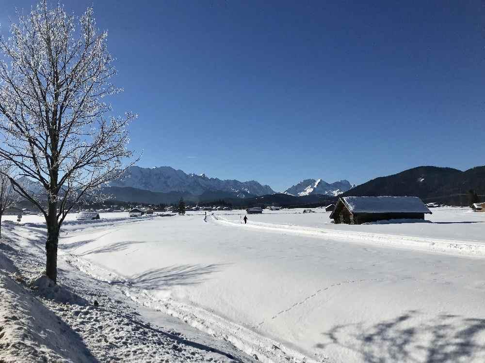 Die Loipe in Wallgau in Richtung Barmsee - schöner Winter im Karwendel!