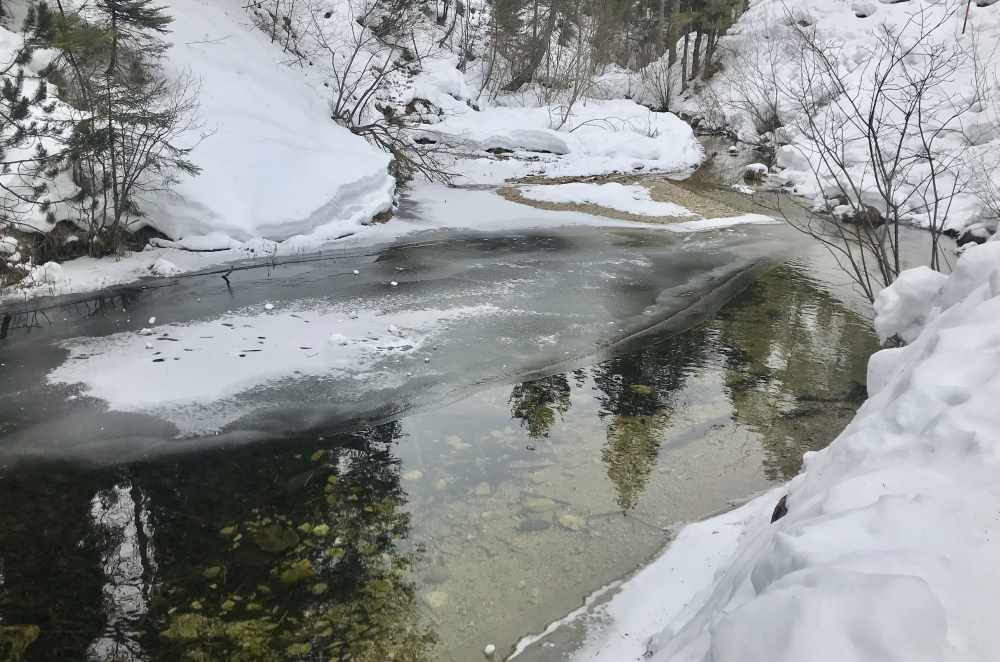 So schön ist die Winterlandschaft am Lainbach