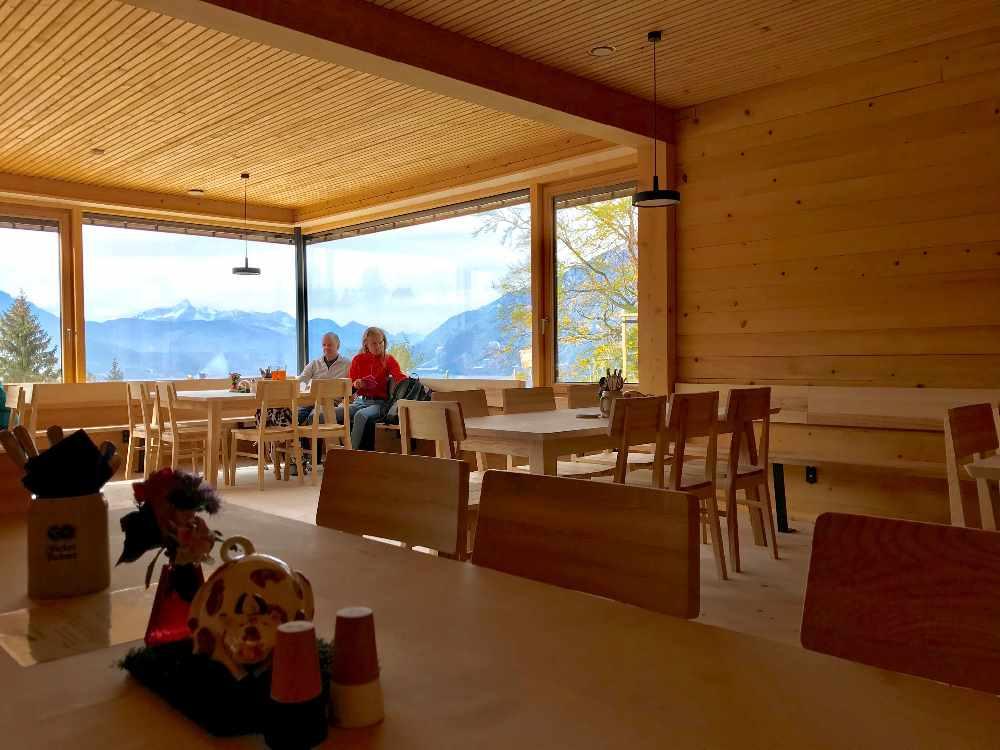 Der Blick aus der Tannenhütte in die Berge des Wettersteingebirge