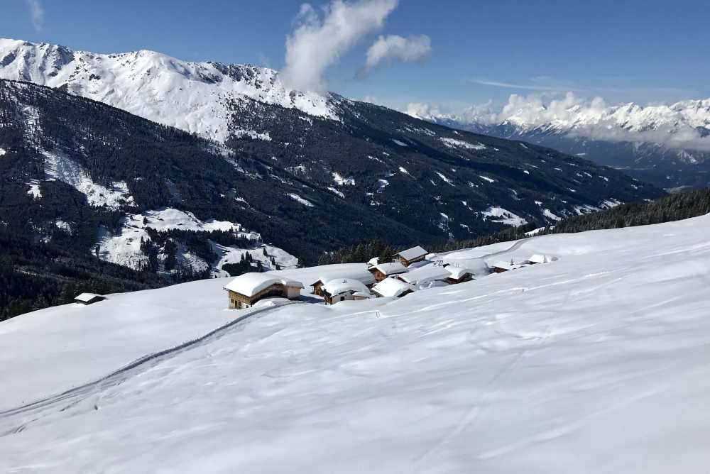 Bei der Nonsalm endet der rund 700 Höhenmeter lange Skihang am Gilfert