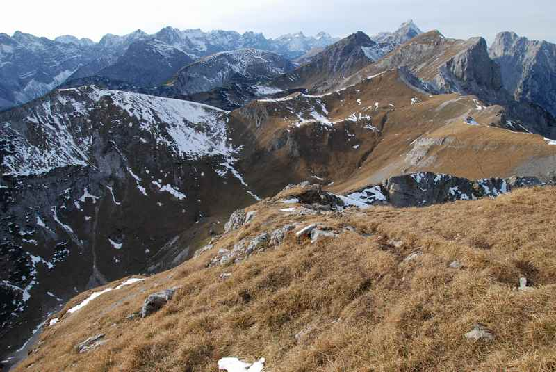 Karwendel Berge: Ausblick am Stanser Joch