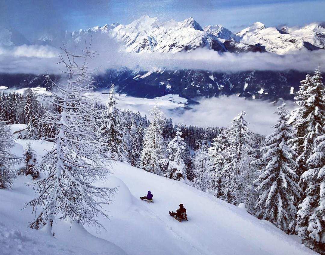 Im Winter mit dem Schlitten auf der Rodelbahn im Karwendelgebirge