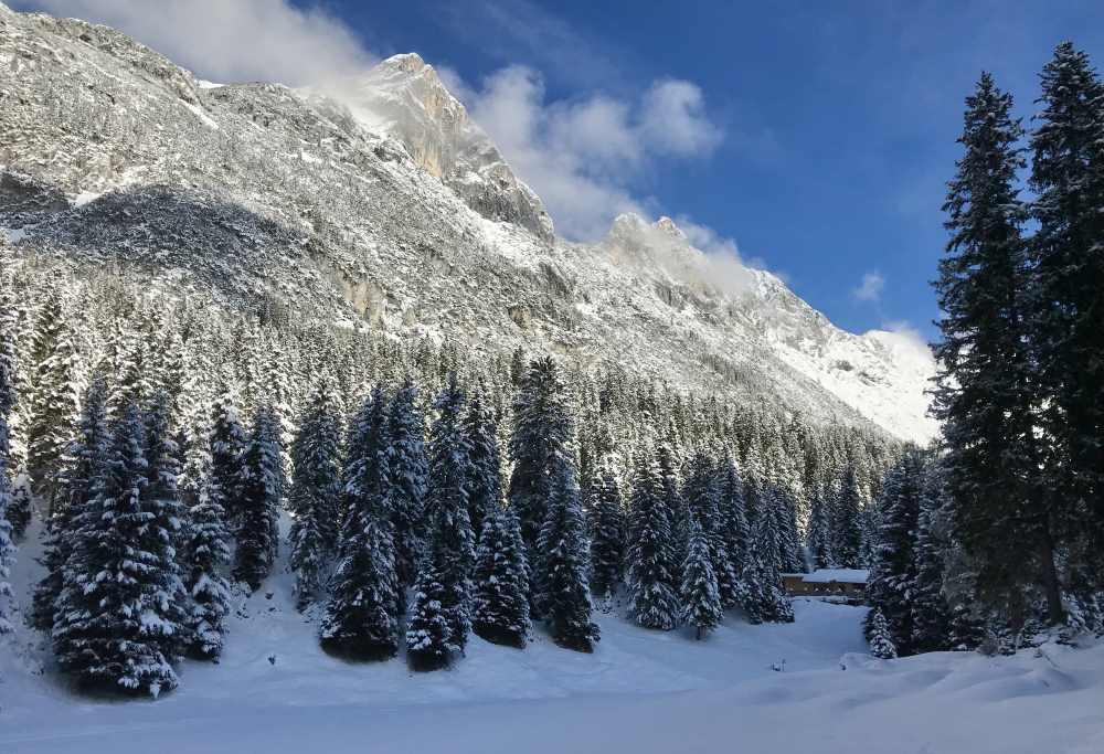 Hoher Sattel - so schaut es dort im Winter aus. Von hier geht die Winterwanderung durch das Satteltal nach Leutasch