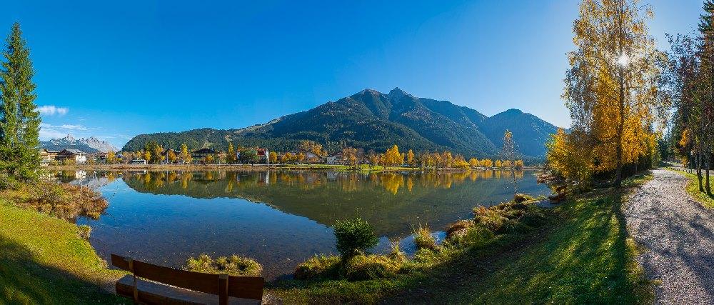Seefeld Herbstwandern am Wildsee, mit Blick auf das Karwendel, Foto: Heinz Holzknecht, (c) ORS