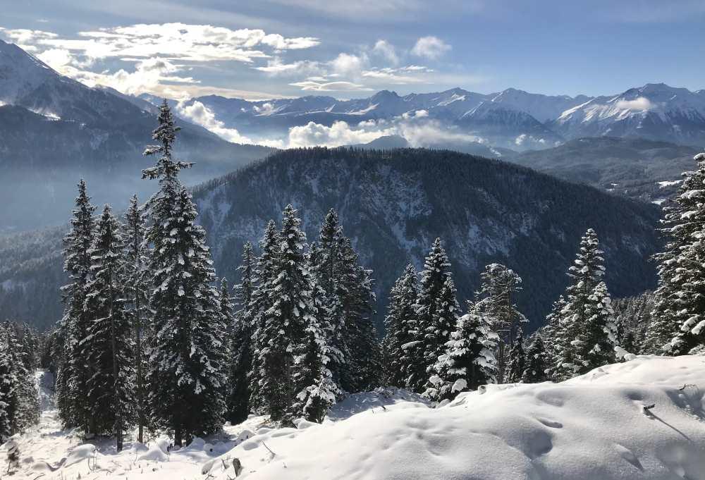Diese Aussicht hatte ich auf das Karwendel bei meiner Winterwanderung in Leutasch