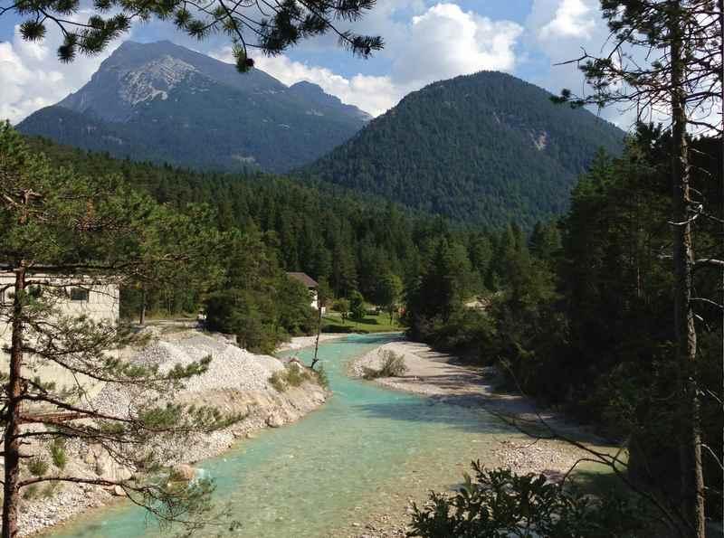 An der Isar mountainbiken nach Scharnitz und in Richtung Seefeld