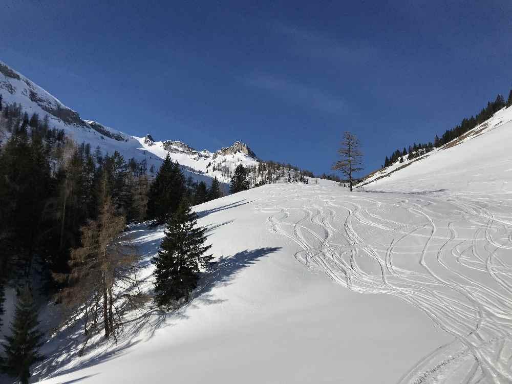 So schön ist die Winterlandschaft zwischen Weissenbachhütte und Weissenbachalm