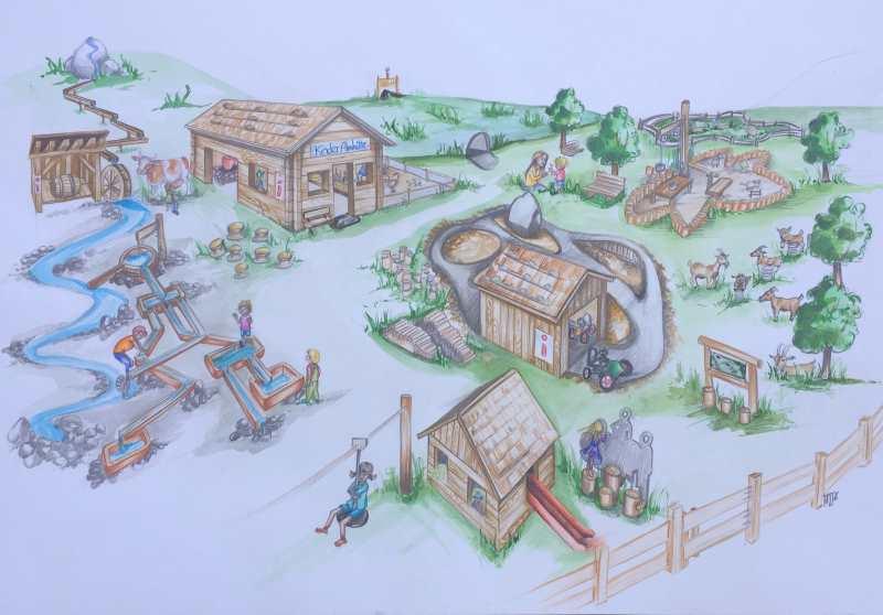 Der Übersichtsplan - das gibt es am Spielplatz Eng zu entdecken. Ein großer Spielplatz für Kinder bei der Engalm