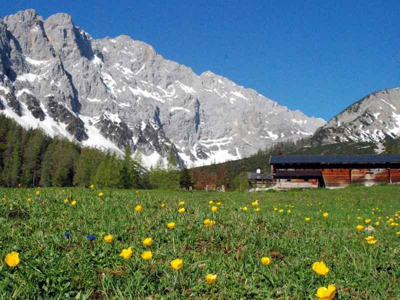 Auf dem Weg zur Lamsenjochhütte: Die Stallenalm