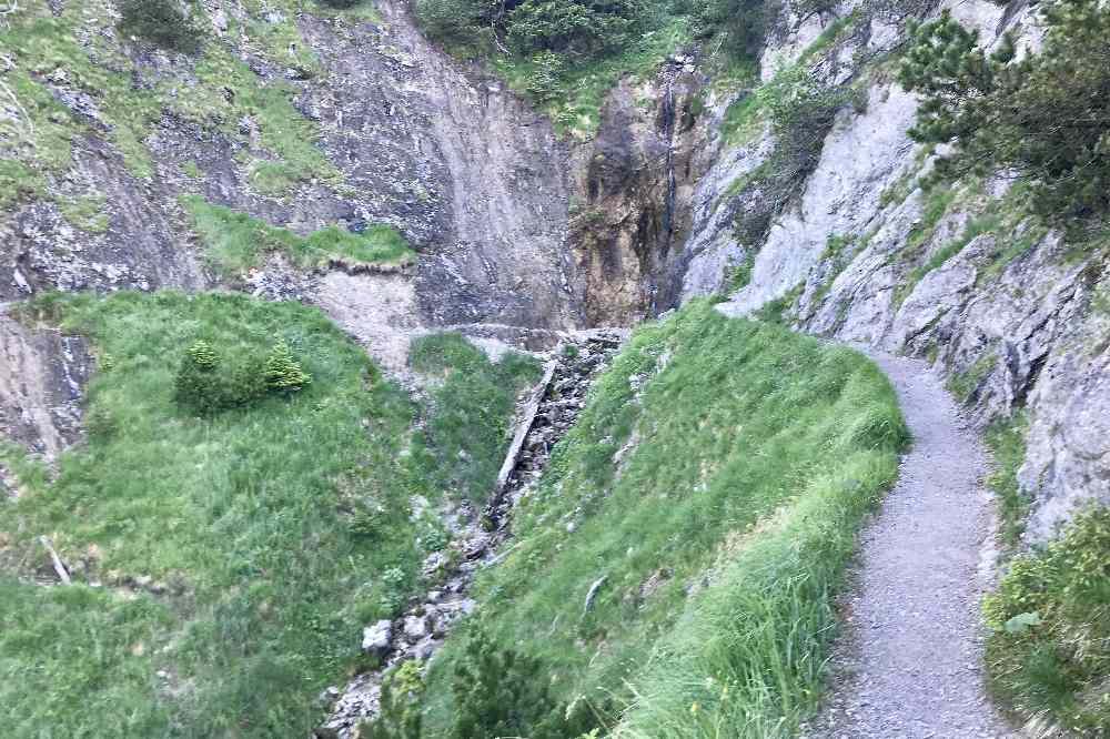 Auf dem schmalen Wandersteig führt die Herzogstand Wanderung hinauf - hier die einzige Möglichkeit die Trinkflasche zu füllen!