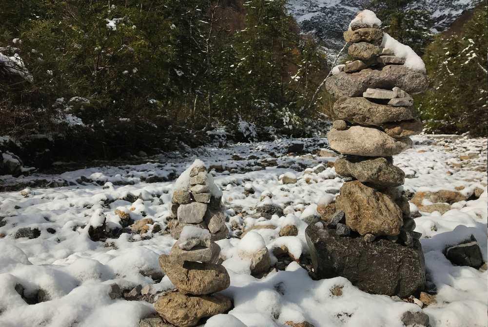 Die Steinmandln haben schon ein winterliches Kleid