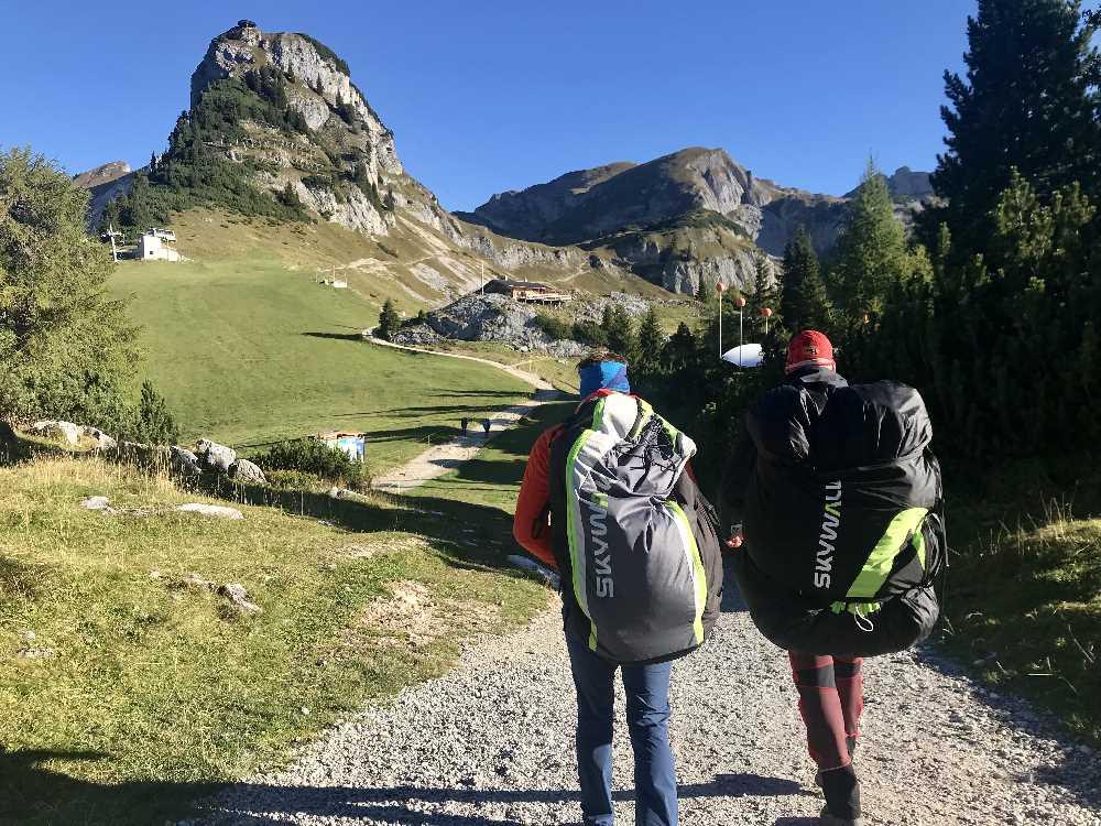 Tandemflug Achensee: Auf dem Weg zum Startplatz im Rofan, auf rund 1900 Metern