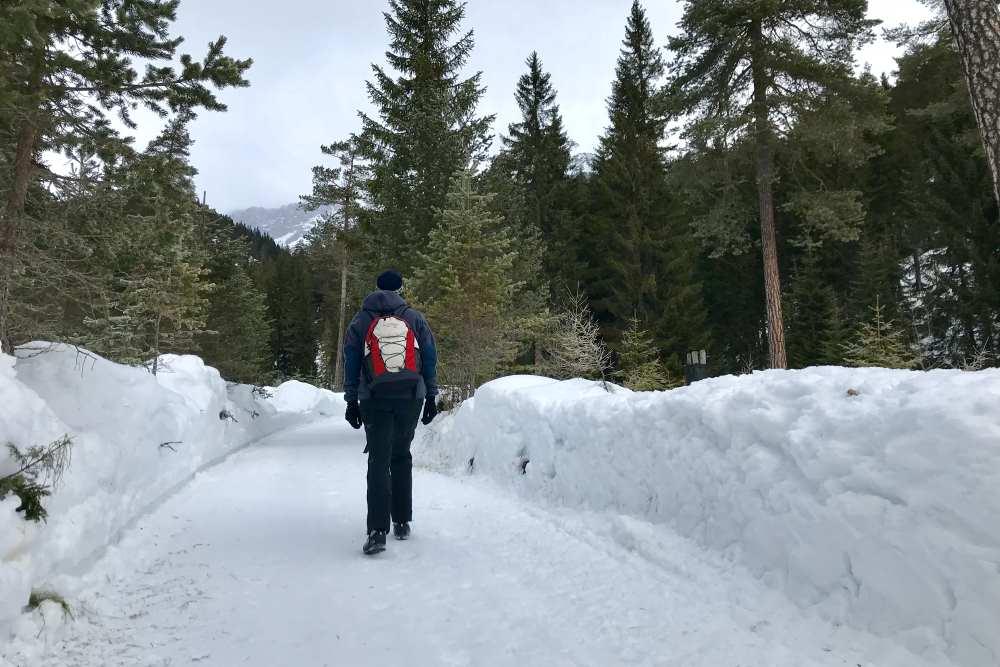 Und los geht die Winterwanderung: Links und rechts die meterhohen Schneestöcke am Winterwanderweg